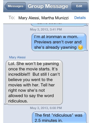 Text with my sister warning me about mom and movies
